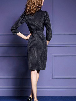 Black Plus Size Slim Stripe Ruffled V Neck Buttons Over-Hip Dress for Casual Office Evening