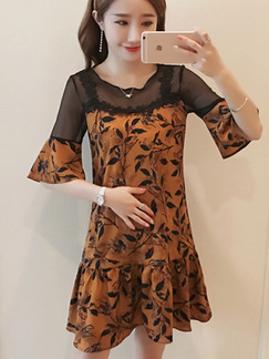 Brown and Black  Plus Size Pregnant Seem-Two A-Line Linking Mesh Printed Flare Sleeve Dress for Casual Party Office