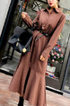 Brown Loose Grid Lapel Fishtail Buttons Long Sleeve Dress for Casual