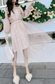 Pink Two-Piece Slim Linking Mesh Lantern Adjustable Waist See-Through Twist Pattern Long Sleeve Dress for Casual