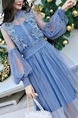 Blue Two-Piece Slim Linking Mesh Lantern Adjustable Waist See-Through Twist Pattern Long Sleeve Dress for Casual
