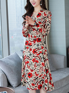 Red and Beige Plus Size Slim A-Line Chiffon Printed V Neck Long Sleeve Dress for Casual Office