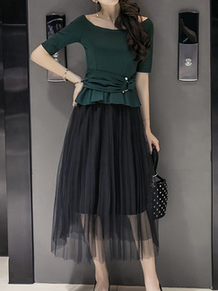 Green and Black Two-Piece Slim Boat Neck Ruffled Adornment Adjustable Waist Linking Mesh See-Through Dress for Casual Party Office