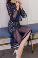 Blue Slim Lace Fishtail Linking Mesh Over-Hip Round Neck Flare Sleeve See-Through Dress for Casual Evening