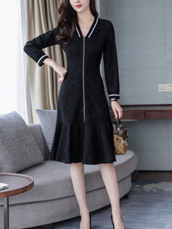 Black Slim A-Line Fishtail Over-Hip Contrast Cuff V Neck Linking Lace Zipper Placket Dress for Casual Office Party