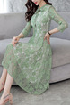 Green Plus Size Slim A-Line Lace Butterfly Kont Neck See-Through Dress for Casual Office Evening