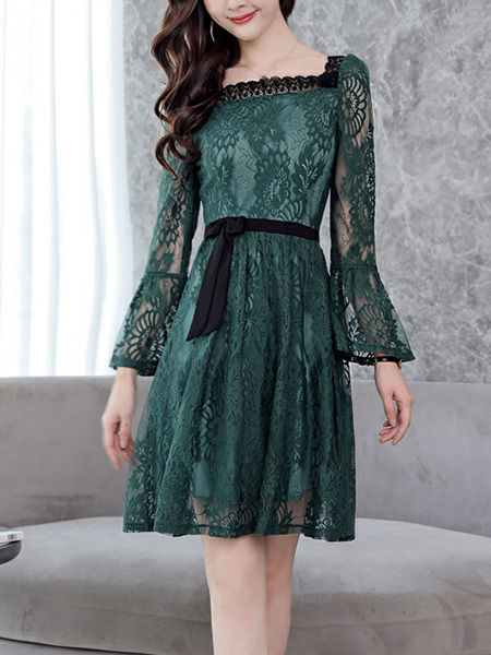 Green Slim A-Line Lace Square Neck See-Through Band Flare Sleeve Open Back Long Sleeve Dress for Casual Party