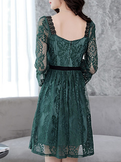Green Slim A-Line Lace Square Neck See-Through Band Belt Flare Sleeve Open Back Long Sleeve Dress for Casual Party