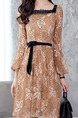 Brown Slim A-Line Lace Square Neck See-Through Band Flare Sleeve Open Back Long Sleeve Dress for Casual Party