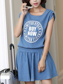 Blue Denim Two-Piece Round Neck Located Printing Buttons Back A-Line Removable Zipper Waist Above Knee Dress for Casual