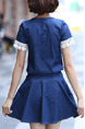 Blue Denim Two-Piece Slim Linking Located Printing A-Line Above Knee Dress for Casual Party