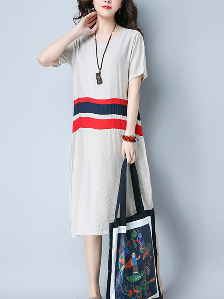 Grey Red and Blue Plus Size Loose Linking Stripe Round Neck Knee Length Shift Dress for Casual