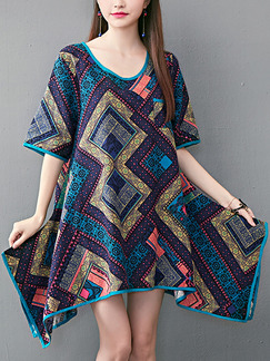 Colorful Plus Size Loose Printed Round Neck Asymmetrical Hem Dress for Casual Party