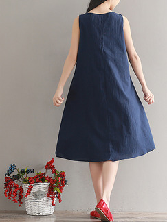 Blue Plus Size Loose A-Line Round Neck Shift Dress for Casual