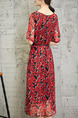 Red and Black Plus Size Loose Printed Round Neck See-Through Pockets Floral Dress for Casual