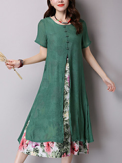 Green Colorful Plus Size Seem-Two Printed Chinese Button Round Neck Furcal Dress for Casual