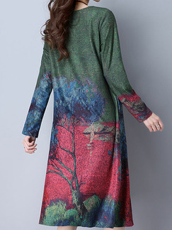 Green Colorful Plus Size Loose A-Line Contrast Printed Round Neck Pockets Shift Long Sleeve Dress for Casual