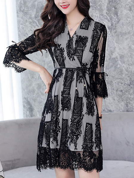 Black Plus Size Slim Cross V Neck Lace See-Through Flare Sleeve Band Belt Above Knee Dress for Casual Office Evening