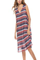 Grey White Orange Loose A-Line Contrast Stripe V Neck See-Through Shift Dress for Casual Party