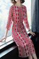 Red and White Plus Size Slim A-Line Printed Band Belt Round Neck Dress for Casual Office