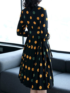 Black Yellow Grey Polka Dot Plus Size Chiffon Slim A-Line Contrast Wave Point Band Belt Dress for Casual Office