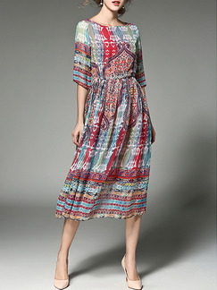 Colorful Plus Size Slim A-Line Printed Round Neck Adjustable Waist Dress for Casual Party