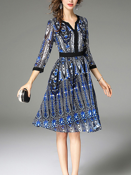 Blue and Black White Plus Size Slim A-Line Printed V Neck Contrast Linking Dress for Casual Office Party Evening