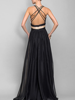Beige and Black Slim A-Line Full Skirt Contrast V Neck Cross Open Back Dress for Cocktail Prom Ball