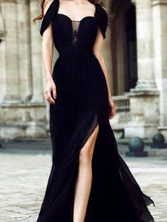 Black Chiffon Slim Off-Shoulder Strapless Over-Hip Furcal  Dress for Cocktail Prom Ball