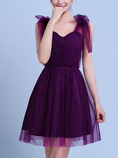 Purple Slim Strapless Linking Mesh Butterfly Knot Back Above Knee Dress for Formal Bridesmaid