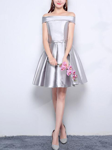 Silver Satin Slim A-Line Off-Shoulder Puff Skirt Butterfly Knot Belt Above Knee Dress for Formal Prom Bridesmaid