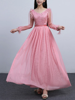 Pink Slim Linking Mesh Laced See-Through V Neck Twist Pattern Full Skirt Straps Back Long Sleeve Dress for Formal Prom Bridesmaid