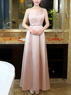 Beige Satin Slim A-Line Butterfly Knot Inclined Shoulder Straps Back Dress for Formal Bridesmaid