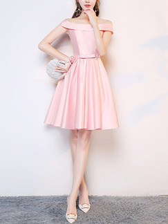 Pink Satin Slim Off-Shoulder Butterfly Knot Straps Back Puff Skirt Dress for Formal Prom Bridesmaid