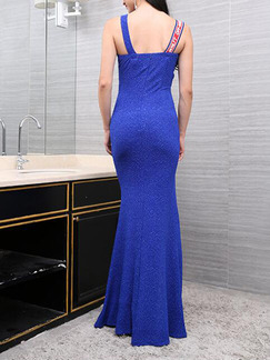 Blue Knitting Slim Linking Ribbon V Neck Furcal Over-Hip Dress for Formal Cocktail Evening