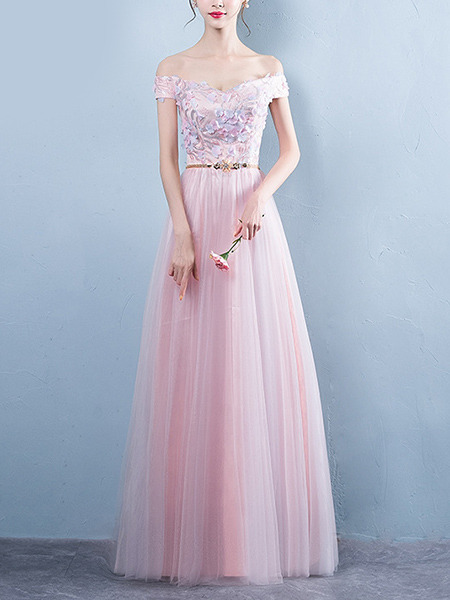 Pink Plus Size Slim A-Line Off-Shoulder Embroidery Twist Pattern Straps Back  Dress for Bridesmaid