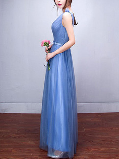 Blue Plus Size Slim A-Line Mesh Pleated Butterfly Knot Inclined Shoulder Straps Back Dress for Bridesmaid Prom
