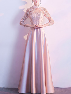 Pink Plus Size Slim A-Line Linking Lace Embroidery See-Through Stand Collar Zipper Back Satin  Dress for Bridesmaid Prom