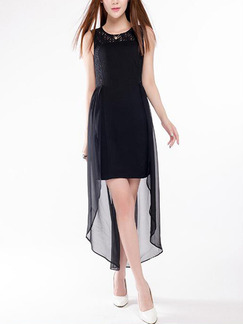 Black Plus Size Slim Linking Chiffon Lace Round Neck Cutout Back Over-Hip Asymmetrical Hem Dress for Cocktail Party Evening