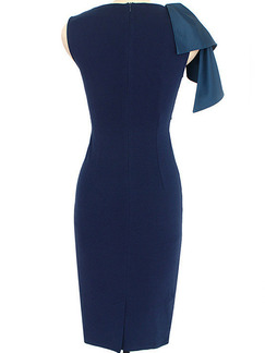 Blue Slim Located Printing Over-Hip Folds Zipper Back  Dress for Cocktail Party Evening Office