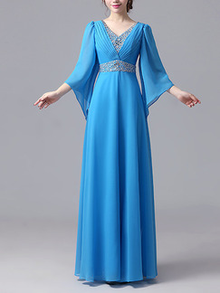 Blue Chiffon Plus Size Slim Rhinestone V Neck Flare Sleeve   Dress for Cocktail Party Evening Bridesmaid Prom