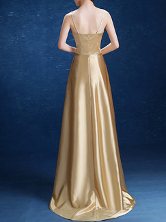 Golden Plus Size Slim Rhinestone V Neck Sling Open Back  Satin Dress for Cocktail Bridesmaid Prom