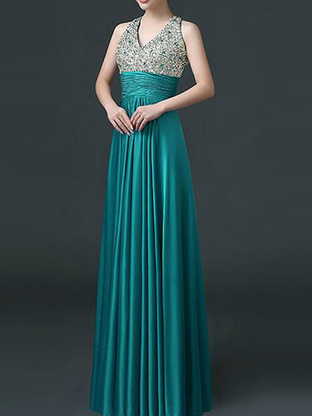 Blue Green Silver Plus Size Rhinestone V Neck  Hang Neck Hasp Open Back Satin Dress for Cocktail Party Evening Bridesmaid Prom