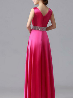 Rose Red Plus Size Slim Rhinestone Pleated Square Neck Satin Dress for Cocktail Party Evening Bridesmaid Prom