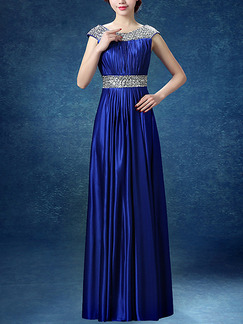 Blue Plus Size Bordure Round Neck Folds Straps Back Satin Dress for Cocktail Party Bridesmaid Prom