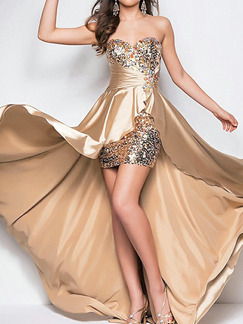 Golden Plus Size Strapless Sequins Asymmetrical Hem Open Back Satin Dress for Cocktail Party Evening Prom