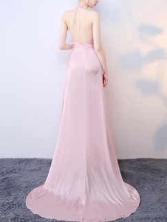 Pink Slim Satin Maxi Cross V Neck Hang Neck Band Belt  Open Back Over-Hip  Dress for Bridesmaid Prom Ball