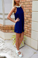 Blue Slim Sling Lace Round Neck Open Back Above Knee Halter Shift Dress for Cocktail Party Evening
