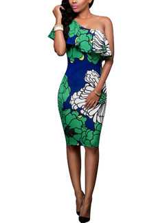Green White and Blue Plus Size Knitting Ruffled Slim Printed Off-Shoulder Over-Hip Knee Length Bodycon Dress for Cocktail Party Evening