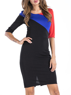 Black Blue and Red Slim Contrast Round Neck Over-Hip Zipper Back Furcal Back Above Knee Bodycon Dress for Cocktail Party Evening